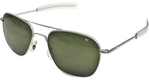 AO Eyewear American Optical Original Pilot Bayonet 57 Matte Chrome TC Grn Sunglasses - Chrome Sunglasses Pilot