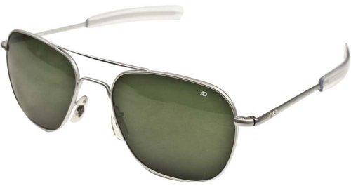 American Optical Original Pilot Bayonet 52mm Matte Chrome TC Green - Original Eyewear 52mm Ao Pilot Sunglasses