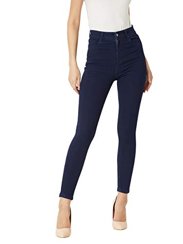 Miss Chase Women's Navy Blue Skinny Fit High Rise Clean Look Regular Length Stretchable Denim Jeans