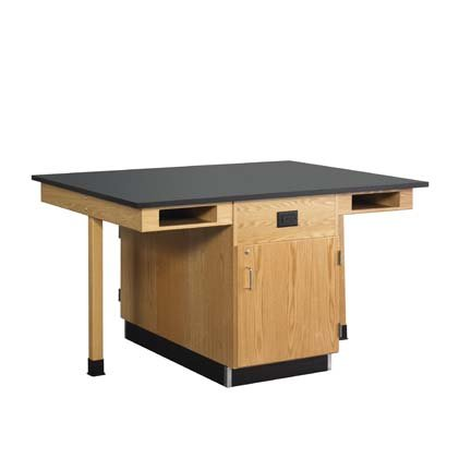 Diversified Woodcraft C2614KF UV Finish Solid Oak Wood 4 Station Service Center with Full Cupboard and Flat Phenolic Resin Top, 66