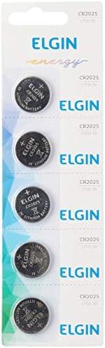 Bateria de litio CR2025 cartela com 5 unidades 3v Elgin, Elgin, Baterias