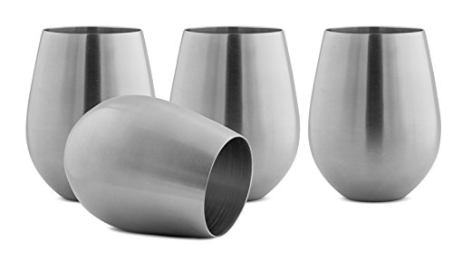 Modern Innovations Stainless Steel Stemless Wine Glasses, Set of 4, 18 Oz Made of Unbreakable BPA Free Shatterproof SS That Is Dishwasher Safe Great for Daily, Formal & Outdoor Use, Camping & Picnics (Wine Glasses Stainless Steel compare prices)