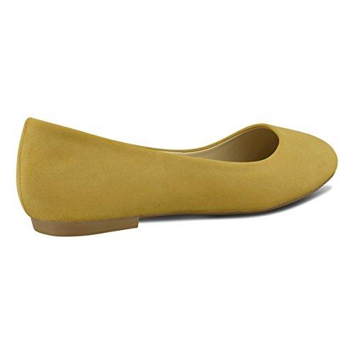 Pu Premier Walking Slip Classic Women's Comfortable Suede Camel Standard Closed Flats Ballet On Toe Round Ballerina SqSZrRw