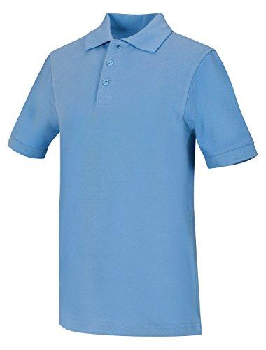 (CLASSROOM Big Boys' Youth Unisex Short Sleeve Pique Polo, Blue, X-Large)