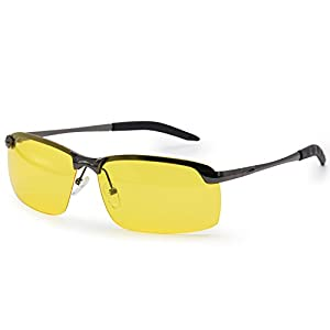 AMZTM Night Vision Goggles Semi-rimless Anti Glare Glasses For Night Driving Polarized Sunglasses For Women and Men (Grey Frame and Yellow Lens, 66)