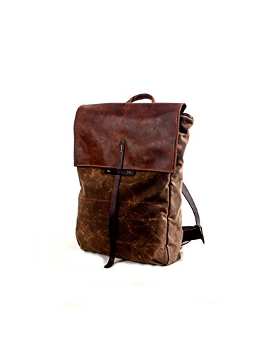 Handmade Brown Canvas and Leather Unisex Backpack, Large 15'' Laptop Rucksack