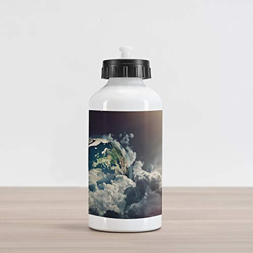 Ambesonne World Aluminum Water Bottle, Abstract Planet Earth View with Majestic Clouds Sun Rays and Stars, Aluminum Insulated Spill-Proof Travel Sports Water Bottle, Dark Blue White Pale Yellow ()