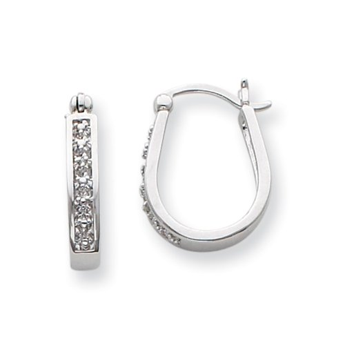 .01 Ctw I-J/I3 Diamond U-Shape Hoop Earrings in Sterling Silver – 20mm