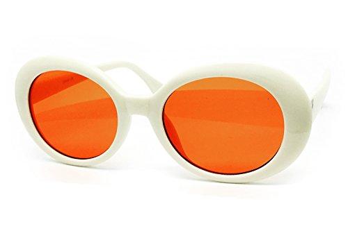 O2 Eyewear SA122 Original Classic Dark Mod Round Pop Oval Lens Kurt Cobain Nirvana Bold Retro Vintage Sunglasses (Kurt Cobain, - Cobain Glasses Kurt White