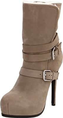 Pour La Victoire Women's Lizzie Shearling Buckle Boot, Grey, 6.5 M US