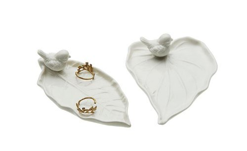 White Ceramic Leaf Plate W/ Bird Accent Tray Set Of 2 Styles Country Home D ()