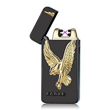 Beautiful Eagle Design Electronic Dual Arc Lighter/Tesla Coil Rechargeable USB cord and gift box included/Double Coil Plasma/Windproof/Cigarette lighter