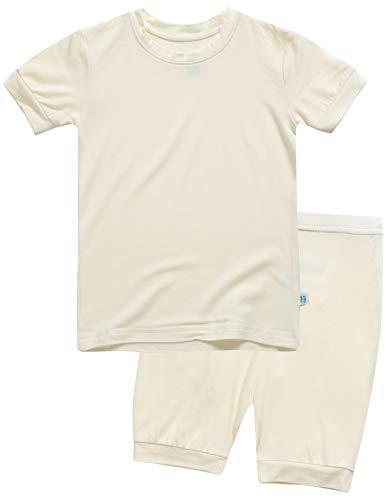 Boys Short Sleeve Sleepwear Pajamas 2pcs Set Short Colorful Whiteyellow L