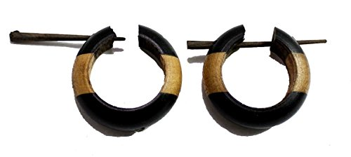 A Pair of Brown Black Tribal Gauges Round Shape Wood Stick Wooden Earrings - Brown Round And Ebony
