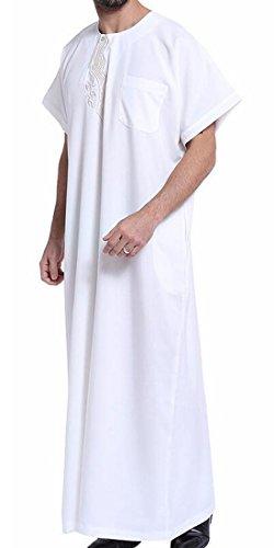 Pandapang Men Arab Short Sleeve Round Neck Embroidery Thobe Muslim Long Shirts White 2XL