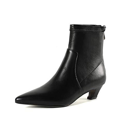 Botines Cortos de tacón bajo para Mujer, Negros, 41: Amazon.es: Zapatos y complementos