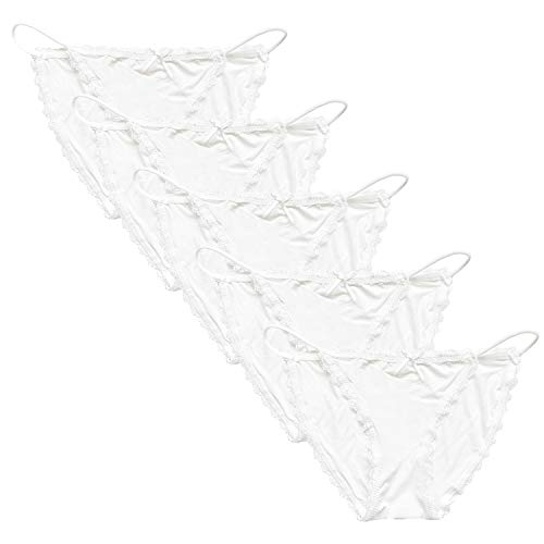Camelia Lace String Bikini Panties (Multicolored, Different Packs) (White,Pack of 5, Large)