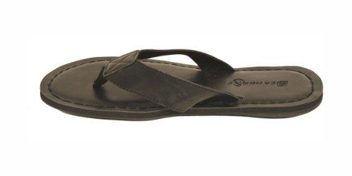 Dona Michi Mens Fashion Flip Flops Black, White, Black With Gray Straps Leather Lining Inside Black