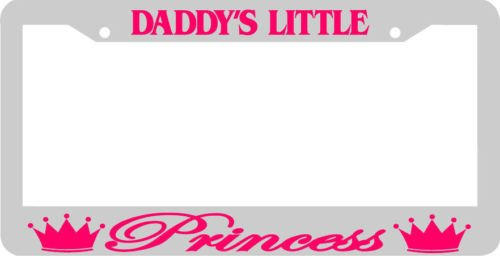 Daddy's Little Princess Chrome/pink License Plate Frame
