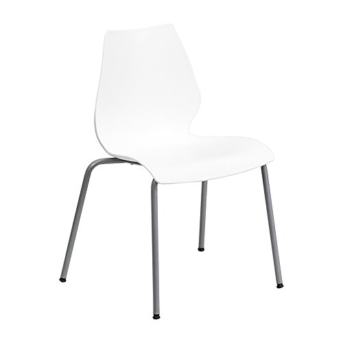 (Offex Stack Chair Ergonomic Lumbar Support and Silver Frame - White)