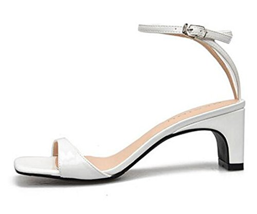 Women's for Pumps Ladies XIUWU White Sandals Mid Comfy Ankle Heels Strap PwdqxSp