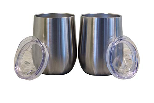 Coastline Vine Wine Glass Tumbler Cups with Clear Lids - Stainless Steel Triple Insulated Vacuum - Double Set of 2-12OZ Shatterproof Spill Preventing BPA ()
