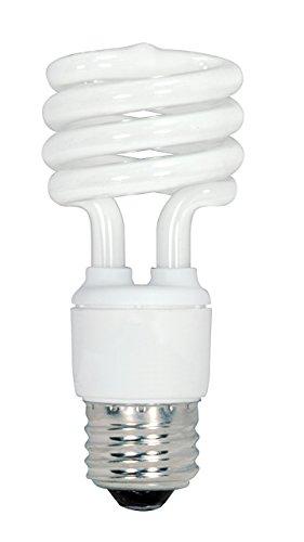 (Satco S6236 13-Watt Medium Base T2 Mini Spiral, 4100K, 120V, Equivalent to 60-Watt Incandescent Lamp for Enclosed Fixtures,Pack of 4 (Renewed))