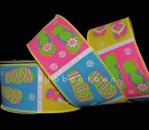 10 Yards Colorful Flip Flop Flops Wired Ribbon 2 1/2
