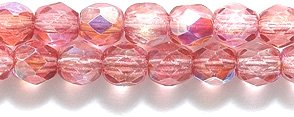 - Preciosa Czech Fire 4 mm Faceted Round Polished Glass Bead, Deep Rose Pink Coat Aurora Borealis Finish, 200-Pack