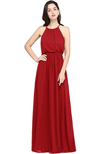 (Babyonlinedress Chiffon Bridesmaid Cocktail Evening Gown Maxi Dress,Red,10)