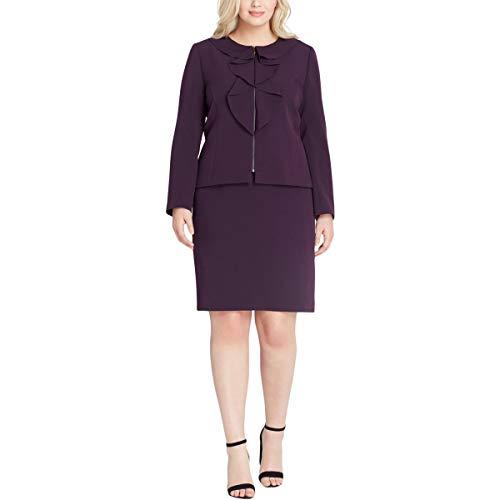 (Tahari by Arthur S. Levine Women's Plus Size Ruffle Front Zip Skirt Suit, Plum 16W)