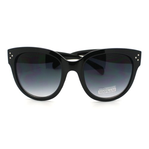 Black Horn Rimmed Round Sunglasses with Signature 3 Metal Dot Front Side - Dots With Glasses Three