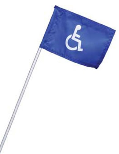 Cart Identification Flag with Mounting Kit-blue/white-handicapped Symbol