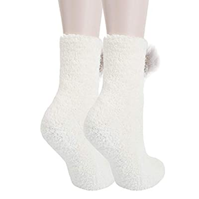 Girls Womens Fuzzy Slipper Floor Socks Novelty Cute, 1 Pack-alpaca, Size Medium: Clothing