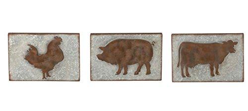 Midwest-CBK Set of 3 Rustic Farm Animal Wall Decor Galvanized Metal