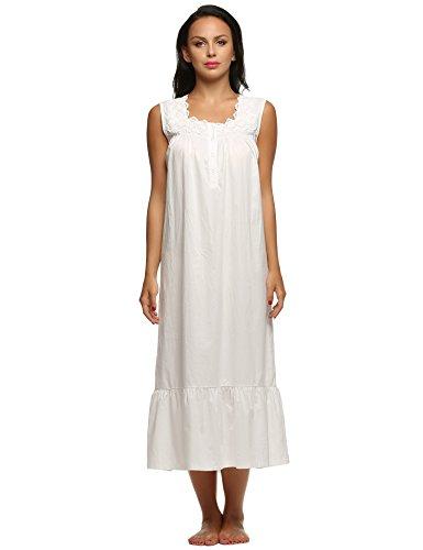 Ekouaer - Camisón - para mujer blanco