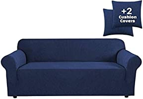 JINAMART High Stretch Couch Cover-One Piece Sofa Cover Furniture Protector + Two Cushion Covers and Pockets on The Sides