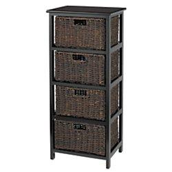 Realspace 4 Drawer Wood Storage Cabinet, Black