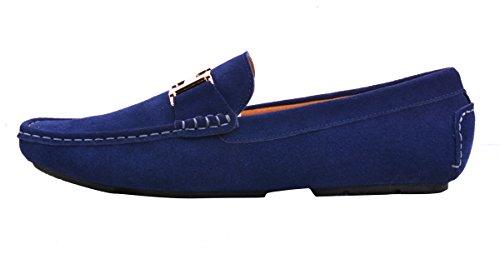 Da Oro On Santimon Scarpe blu Blu Moda scuro Slip Scarpe Uomo Barca con Fibbia Mocassini Casuale aPwUP0t