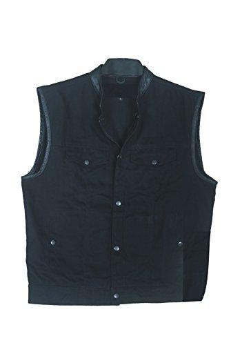 Mara Leather Basic Denim Vest 100% Cotton For Men's (Black) (XL)