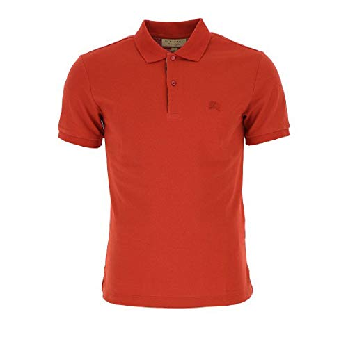 BURBERRY Men's Red Short Sleeve Polo T-Shirt with Check Insert (XXL) (Burberry Shirt Xxl)