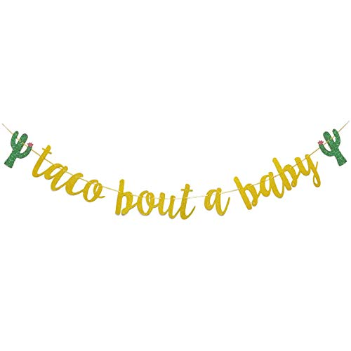 Finseng Taco Bout A Baby Gold Glitter Banner Sign Garland for Mexican Fiesta Themed Baby Shower Decorations