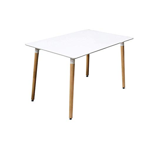Best Master Furniture G01 Giselle Mid-Century Dining Table Only Only, White