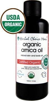Herbal Choice Mari Organic Arnica Oil 100ml/3.4oz Glass Bottle