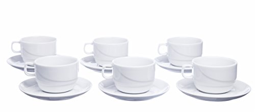 Smart And Cozy STACKABLE 12-Piece Tea/Coffee CUPS with Saucers, White Porcelain, Restaurant&Hotel Quality (Glazed Porcelain White Saucers)
