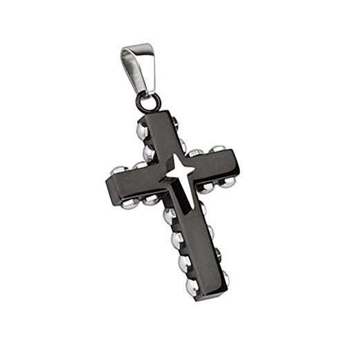 Stainless Steel Black Plated Bolted Cross with Star Cross Pendant (Sold Ind.) (5607 Cross)