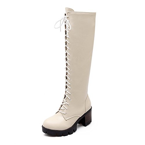 AllhqFashion Womens Round Closed Toe High-Heels Soft Material High-top Solid Boots Beige QoqEXW