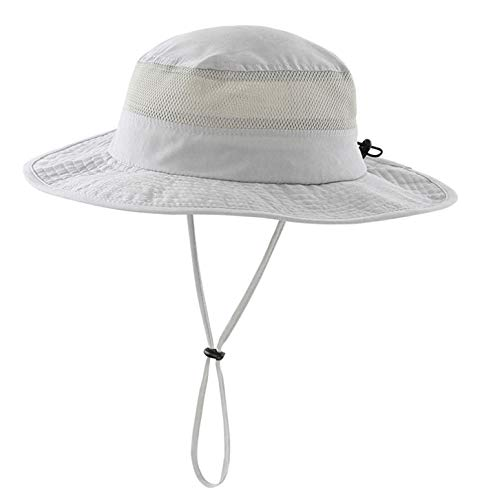 Cooling Garden - LLmoway Wide Brim Sun Hat Men Sun Protection Hats for Hiking Fishing Gardening Breathable Hats Grey