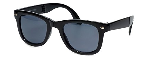 Calabria Classic Folding Wayfarer Sunglasses with 100% UVA/UVB Protection (Black Frame & Grey - Fold Up Glasses