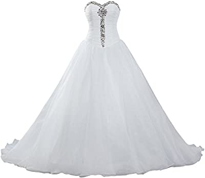 Women's Crystal Sweetheart Organza Ball Gown Wedding Dress For Bride